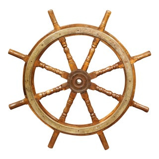 19th Century French Carved Walnut and Iron Sailboat Wheel For Sale