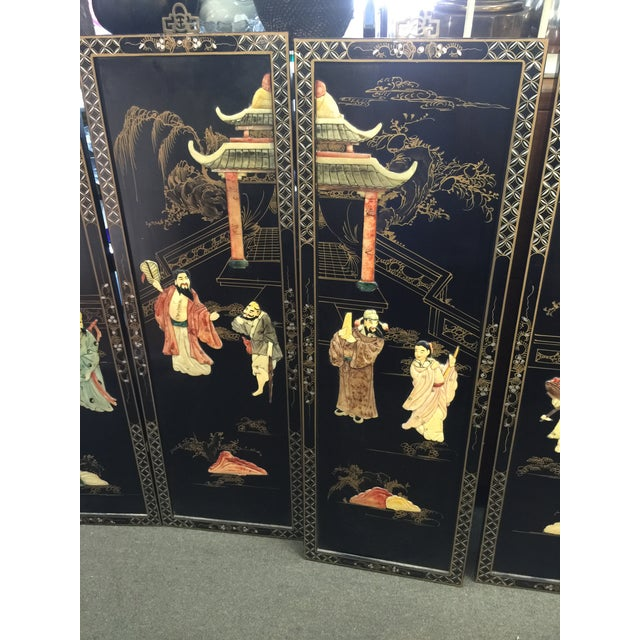 Asian Chinese Black Lacquer Hardstone Wall Panels Set of Four For Sale - Image 3 of 8
