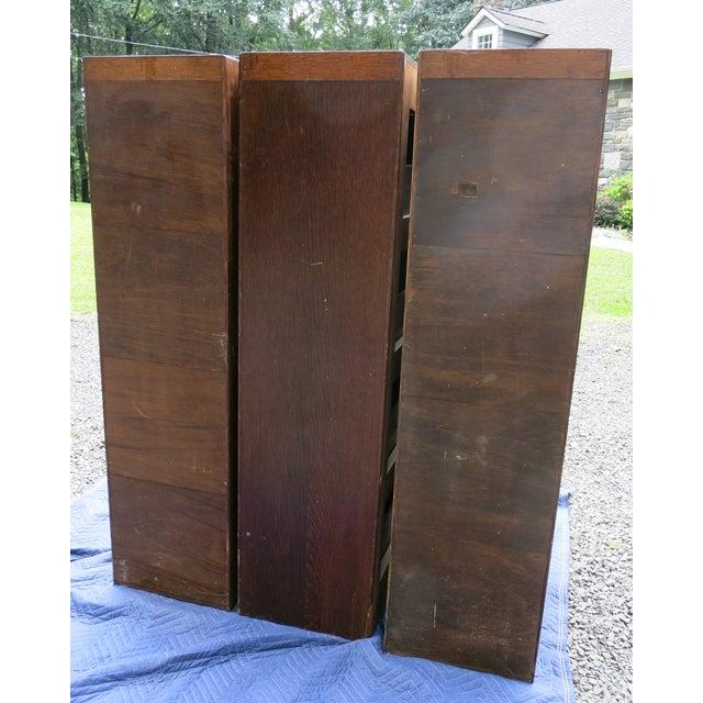 1900 - 1909 Antique Globe Oak File Cabinets - Set of 3 For Sale - Image 5 of 13