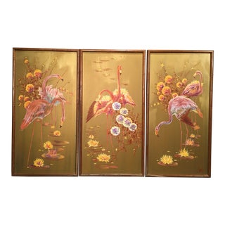 1960s Vintage Hollywood Regency Flamingo Triptych Oil Painting- Set of 3 For Sale