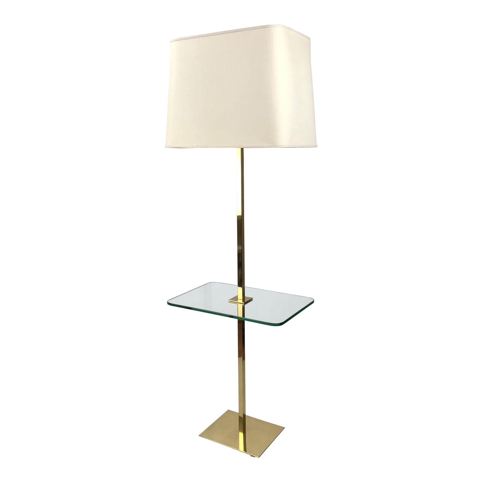 1960 S Hansen Brass Glass Floor Lamp Side Table Chairish