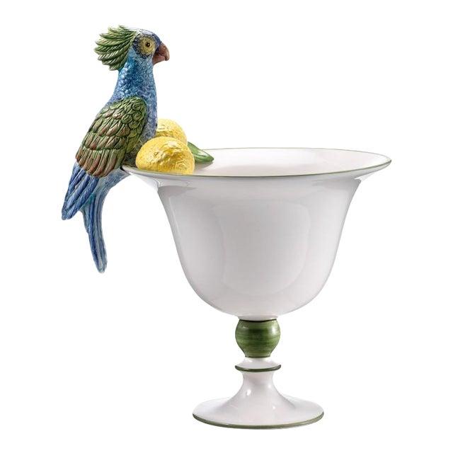 Italian Ceramic Parrot Vase For Sale