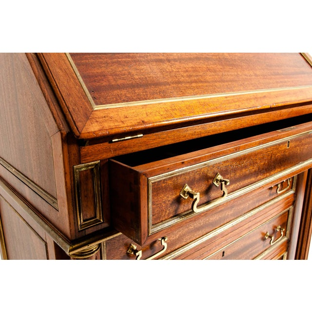 19th Century Mahogany Wood Gallery Top Drop Front Writing Desk For Sale In New York - Image 6 of 13