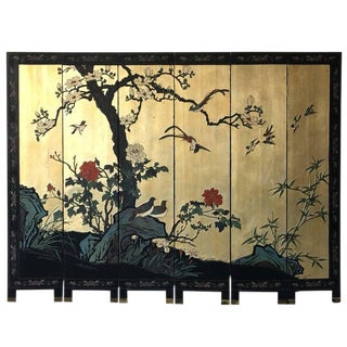 1950s Black and Gold Cherry Blossom Six-Panel Room Divider Screen For Sale
