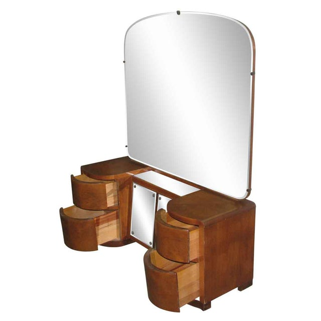 Art Deco Curved Drawers Vanity and Mirror For Sale - Image 6 of 10