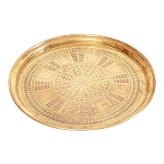 Vintage Moroccan Brass Tray For Sale