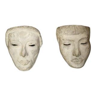 Sabine Hettner Plaster Mask Wall Light Sconces - a Pair For Sale