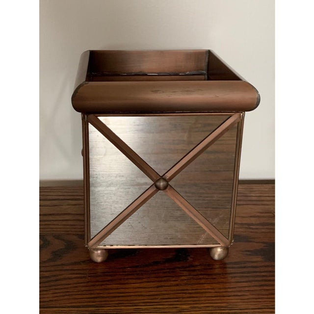 Traditional Worlds Away Medium Crosshatch Antique Mirror Planter For Sale - Image 3 of 3