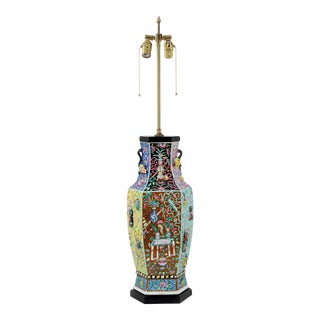 Multi-Colored Hexagonal Porcelain Lamp With Raisework Decorations and Small Branch Handles For Sale