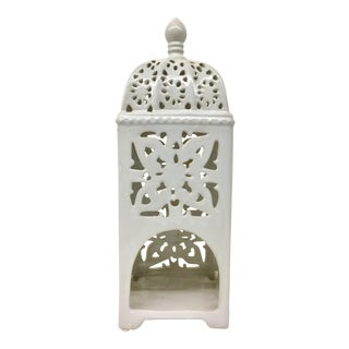Marrakesh-Style White Ceramic Candle Holder For Sale