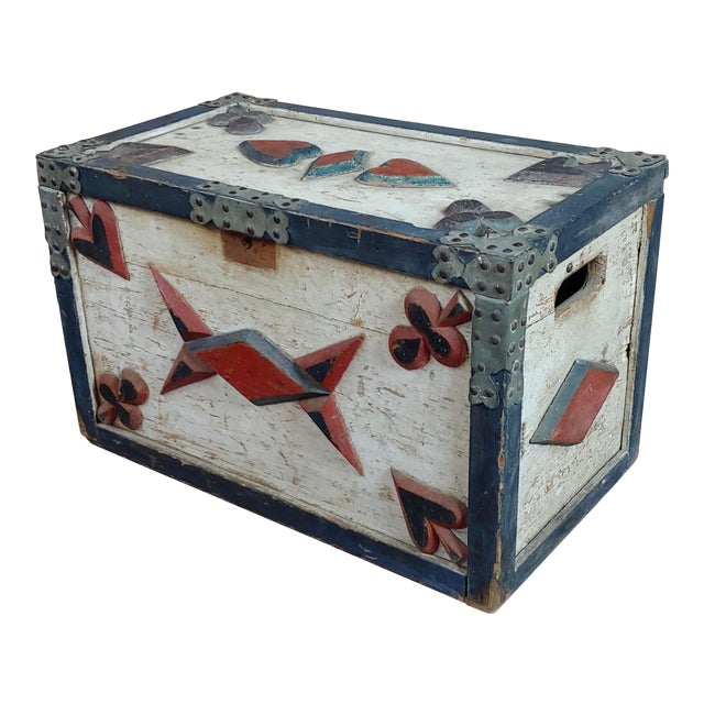 19th Century Americana Painted Trunk For Sale