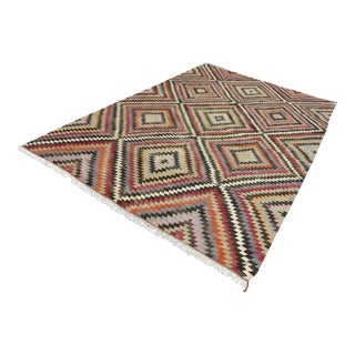"1960s Vintage Kilim Diamond Design Wool Rug-7'8'x11'11"" For Sale"