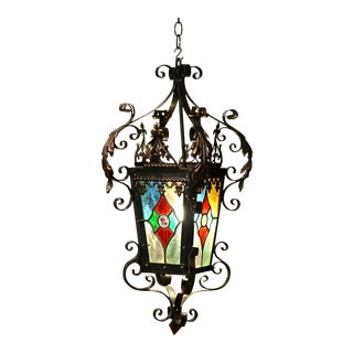 19th Century, French Napoleon III Iron Lantern With Painted Stained Glass Panels For Sale