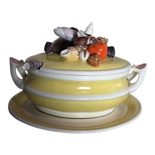 Vibrant Yellow Sea Shell Decorated Soup Tureen and Ladle For Sale