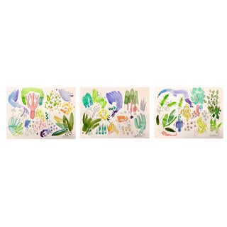 "English Garden Original Set of Three Watercolor Paintings. 11x15"" For Sale"
