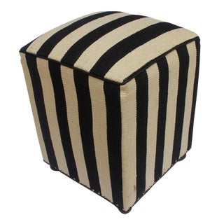 Arshs Deane Ivory/Black Kilim Upholstered Handmade Ottoman For Sale