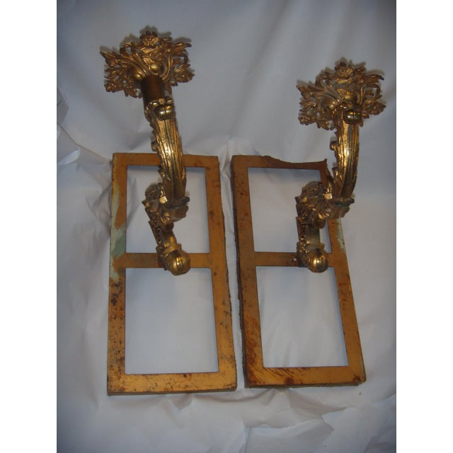 Ornate Bronze Wall Sconces - A Pair - Image 2 of 11