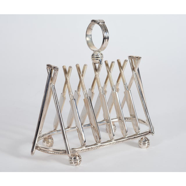 Vintage English silver plate cricket sport design details tableware toast rack. The toast rack is in excellent condition,...