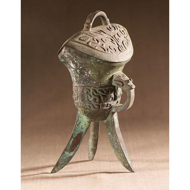 Asian Lawrence & Scott Patinated Wine Vessel With Lid For Sale - Image 3 of 3