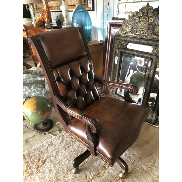 Tufted Swivel Leather and Wood Desk Chair For Sale - Image 9 of 12