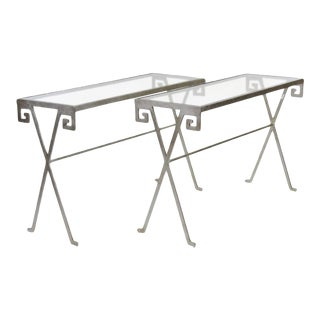 Jean Michele Frank Style Silvered Glass Top Console Tables - A Pair