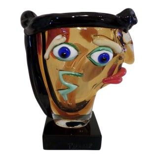 Murano Glass Sculpture--Head of a Woman in the Style of Picasso For Sale