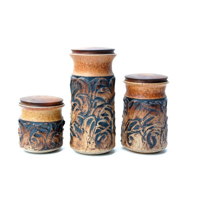 Victoria Littlejohn Ceramic Canisters - Set of 3 - Image 1 of 4