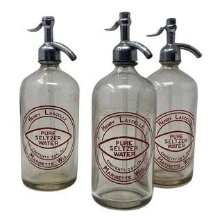 Vintage Henry Lascele Glass Seltzer Bottles - Set of 3 For Sale
