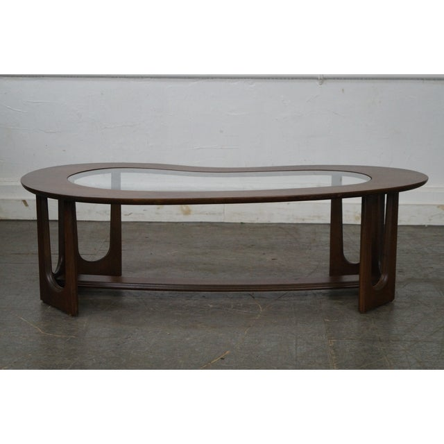 Mid-Century Boomerang Walnut & Glass Top Coffee Table - Image 9 of 10