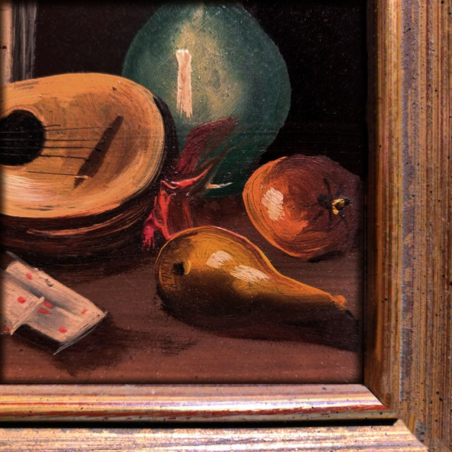 20th Century Gold Cerused Wood Framed Cryptically Composed Still Life Oil Painting on Board For Sale - Image 9 of 13