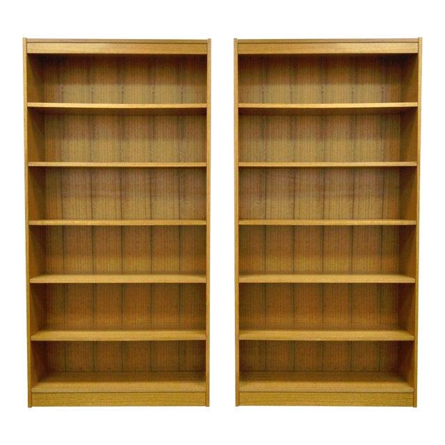72 Pair Of Mid Century Danish Modern Style Teak Veneer Bookcases Made In Chile