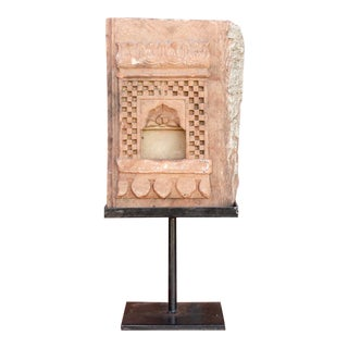 Carved Rajastani Sandstone Niche on Stand For Sale