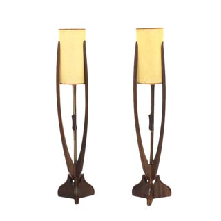 Pair of Walnut Table Lamps For Sale