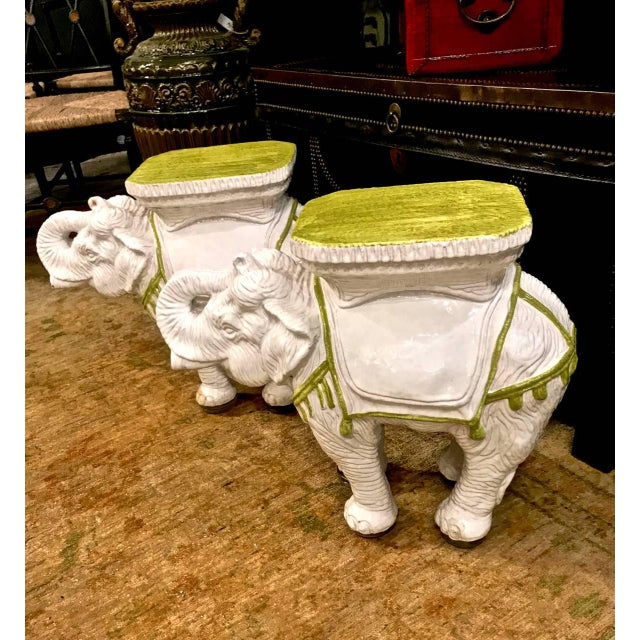 Pair Italian Ceramic Chinoiserie Elephant Garden Stools or Tables For Sale - Image 9 of 9
