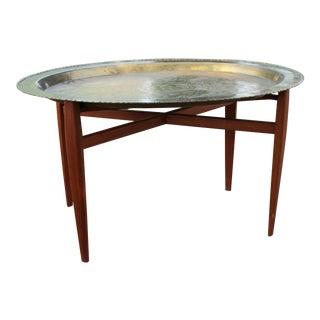 Vintage Mid-Century Modern Brass Tray & Teak Coffee Table For Sale