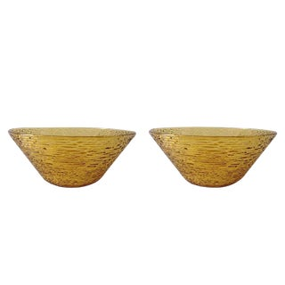 Bamboo-Style Amber Salad Serving Bowls by Anchor Hocking - a Pair For Sale