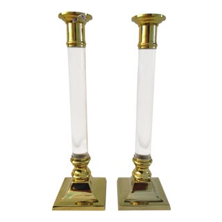 1980s Hollywood Regency Polished Brass & Lucite Candle Holders - a Pair For Sale