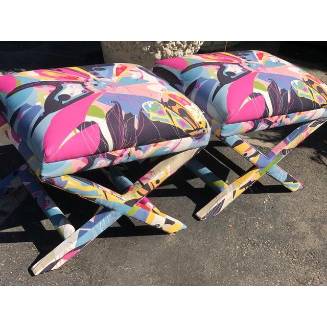 Pair of Diane Von Furstenberg Post Modern Butterfly Explosion X Benches
