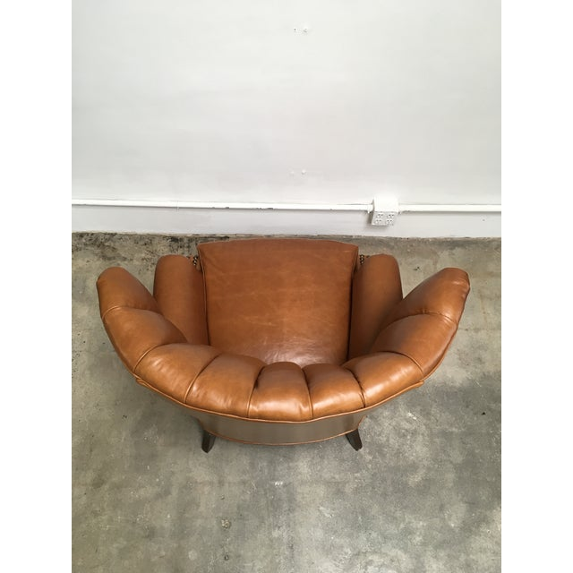 Brown 1940s Unique Channel Back Bucket Wing Chair For Sale - Image 8 of 13