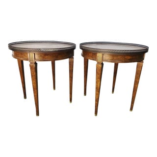 Vintage Louis Directoire Style Bronze Gallery Round Tables Gueridon Tables - a Pair