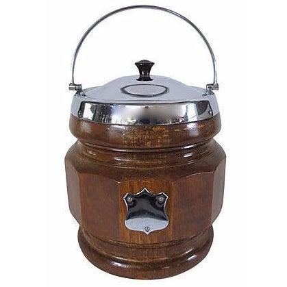 Vintage English Carved Oak & Chrome Ice Bucket - Image 1 of 2