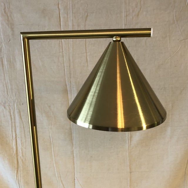 Mid-Century Modern Mid-Century Style Brass and Black Marble Base Floor Lamp For Sale - Image 3 of 7