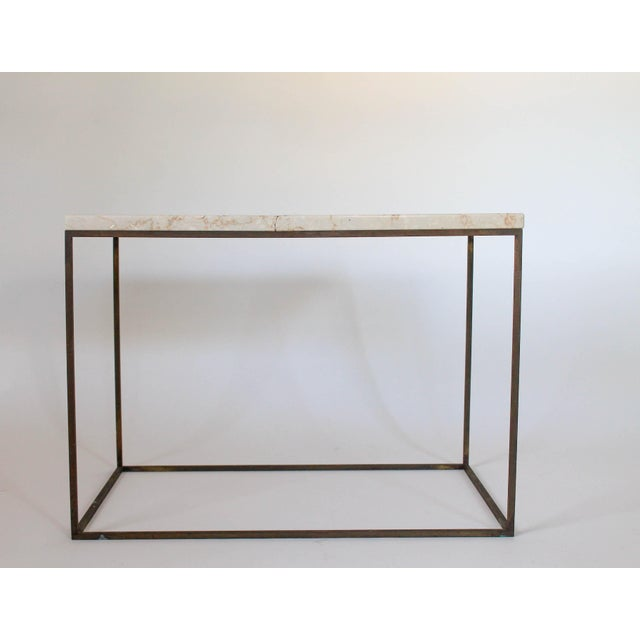 Boho Chic Rectangular Brass & Travertine Table For Sale - Image 3 of 11