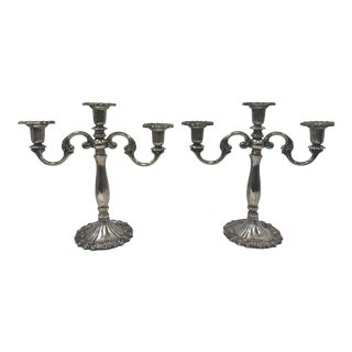 1940s Italian Silver Candelabra Candle Holders - a Pair For Sale