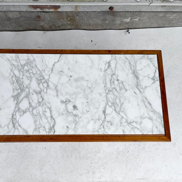 1970s Long Mid-Century Marble Top Coffee Table For Sale - Image 5 of 13