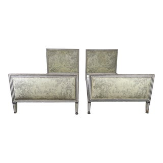 Vintage French Painted Louis XVI Style Bed Frames- a Pair For Sale