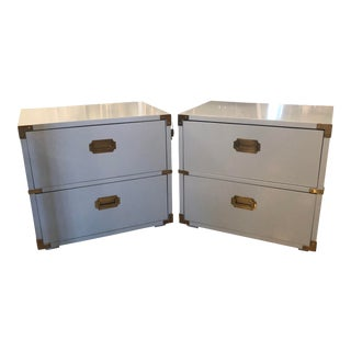 Vintage Lane Furniture Newly Lacquered Powder Blue Brass Campaigner Nightstands Chests -A Pair For Sale