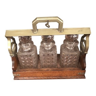 Antique 1900s English Oak Tantalus & Crystal Decanters - Set of 4 For Sale
