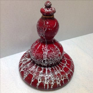 Vintage Mid-Century Studio Pottery Genie Bottle Decanter White Lava Glaze on Red Ox-Blood Glaze, Handmade Sculpture Preview