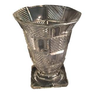 Vintage Crystal Cut Glass Decorative Vase For Sale